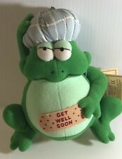 """Russ GET WELL SOON Frog Plush 7"""" Frog with Bandaid and Head Ice Pack"""