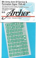 Archer British 8th Arm Of Service & Formation Signs Decals Transfers AR35067