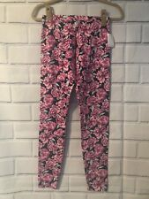 NWT Women's Charlotte Russe Patterned Print Leggings Sz L Pink Floral Print Navy
