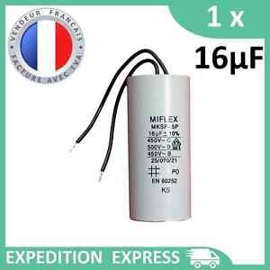 Condensateur moteur 16µF 16uF 450V à fils MKSP-5P démarrage/permanent