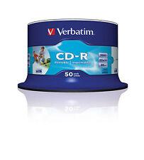 50 Pack Spindle Verbatim Blanco Imprimible por inyección de Imprimible Cd-r Discs 52x 700 Mb 80 Minutos