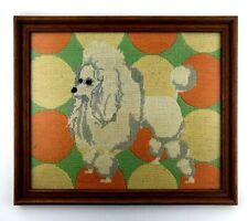 Vintage Mcm White Poodle Needlepoint Framed Large 13x15 Mid Century Orange Green