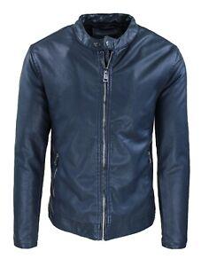 Giubbotto ecopelle Biker uomo blu giacca giubbino collo coreano casual