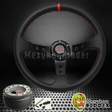 350mm Black Deep Dish Steering Wheel + Hub Adapter For Honda Civic 1992-1995 EG