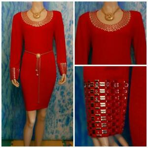 ST. JOHN Santana Knits Red Dress L 10 12 Long-Sleeved Sheath Sequined Sparkle