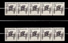UNITED STATES, SCOTT # 2124, SET OF 2 STRIPS OF 5 PNC # 3 & 4 BUCKBOARD 1880s