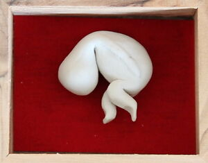 EMBRYO Tiny Clay Ceramic Handmade White Figurine for HAPPINESS & GOOD FORTUNE
