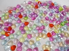 800pcs 10mm Acrylic Top Drilled Faceted Charm HEART Beads ASSORTED / MIXED M03