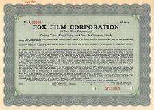 Fox Film Corporation 1931 Specimen Stock Certificate Movie Film Studio 20th Cent