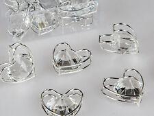Streudeko Herzen D. 4cm silber mit Kristallglas 6 Stück in Klarsicht BOX Formano