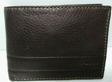 Fossil Mens Bifold Wallet Leather Lufkin Int'l Traveler Dark Brown Coin Pkt ID