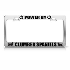 Powered By Clumber Spaniels Chrome License Plate Frame Tag Border