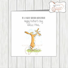 Personalised Fathers Day Card Rabbit Throwing Child In Air Godfather Daddy Papa