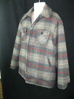 Vintage Woolrich Men's Wool Coat Jacketl Gray Plaid Zip Size   Xl
