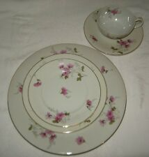 Crown China Japan White and Pink Floral Dahlia 5 Piece Place Setting,2 Available