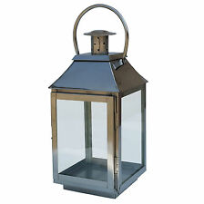 Medium Stainless Steel Chrome Glass Lantern for Garden & Home