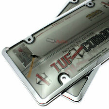2 Chrome Plastic License Plate Frames + Smoke Tinted Shield Covers for Car-Truck
