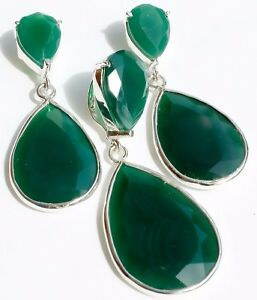 """925 SOLID SILVER GREEN ONYX FINE CUT (93CTS )STUD EARRING WITH PENDENT SIZE=2"""""""