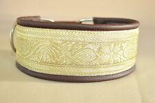 Hundehalsband/Windhundhalsband echt Leder mit goldener Bordüre