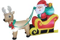 CHRISTMAS SANTA REINDEER SLED SLEIGH  INFLATABLE AIRBLOWN YARD DECORATION 6 FT