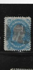 """US Scott #92 used 1c blue 1868 Franklin bank note with """"F"""" grill f/vf sound"""