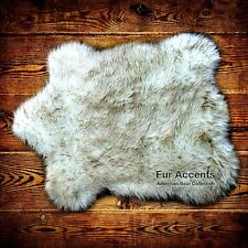 Classic Bear Skin Rug, Faux Fur, White Polar Bear, Arctic Wolf, Hand Made USA
