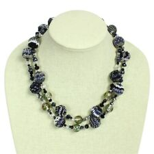 """Semi-Translucent Glass Strand Beads shimmering Crystal Necklace 20"""" Mayan Jewel"""