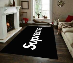 Supreme Black White Rug, , Non Slip Floor Carpet,Teen's Rug,Fan Carpet,Area Rug