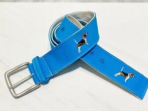 Embroidered Belt Beagle Dog Preppy Blue Mens Womens Pet Parent NEW