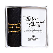 Dogeared Gold Dipped Perfect Diamond Stack with Open Ball Ring, Set of 3 Size 7