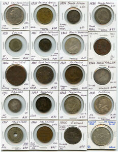 WORLD MIX COINS 1700'S-1900'S ISSUE 20 WORLD COINS COLLECTION RARE & NICE LOT.