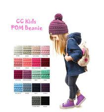 Brand NEW! Kids CC Beanie Cute Warm and Comfy Pom Pom Knit Ski Kids Beanie Hat