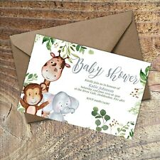 BABY SHOWER INVITATIONS Cute Animals, Personalised PK 10