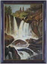 ARTE NAIF - cascata in dirupo montagna olio cartone ENRICO COPETTA COEN 1925-89