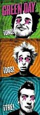"""GREEN DAY FLAGGE / FAHNE """"UNO DOS TRE"""" 145x51cm POSTERFLAGGE POSTER FLAG"""