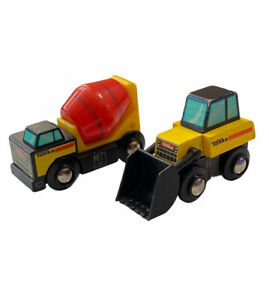 Tonka Wooden Work Construction Truck Cement concrete mixer toy Front Loader Lot