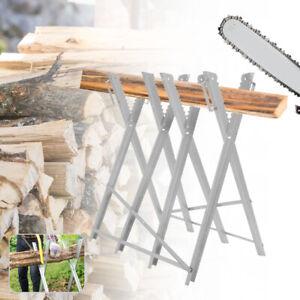Sawhorse Garden Metal SAW HORSE Heavy Duty Chainsaw Log Holder Foldable Cutting