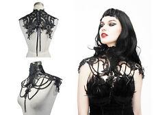 Enigma SS901 Female Black Gothic Elegant Bead Feather Burlesque Collar Shrug