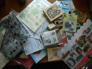 Large Lot of Acrylic & Rubber Stamps Dies Blocks All Pictured