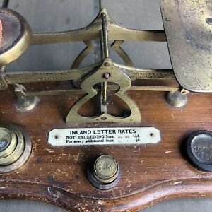 Antique English Brass Postal Letter Scale With Wooden Base