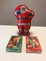 Vintage Coca-Cola Coke Christmas Santa Claus Playing Cards  Metal Collector Tin