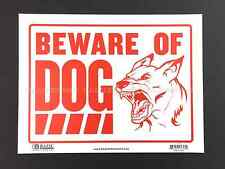"""BEWARE OF DOG sign 9"""" x 12""""  Flexible plastic Red"""