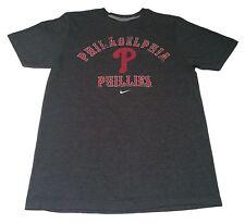 (M) Nike PHILADELPHIA PHILLIES Gray Retro Baseball Shirt Soft Feel chase utley