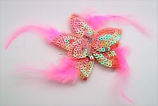 party Fashion jewelry Feather Sequins bead Flower Pin Brooch Bridal-Pink A275