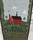 """Warren Kimble Red Barn Decor Bell Pull Tapestry Wall Hanging 42"""" x 6.5"""" NOS"""