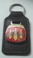 HILLMAN HUNTER LEATHER AND ENAMEL KEY RING KEY CHAIN KEY FOB