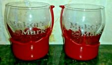 Set of 2 Makers Mark Whiskey Glasses Red Wax Dip Bourbon Whiskey Kentucky