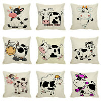 FJ- CARTOON COW PILLOW CASES SOFA BEDROOM CUSHION COVER HOME LIVING ROOM DECOR N