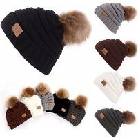 Hommes Femmes Hiver Chaud bouffant bonnet laine tricot ski crâne souple caps