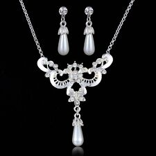 White Faux Pearl Crystal Hollow Butterfly Pendants Chains Necklace Earrings Sets